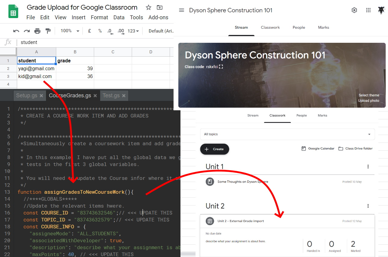 Google Apps Script Upload Grades Into A Google Classroom Coursework Assignment Yagisanatode Appsscriptpulse
