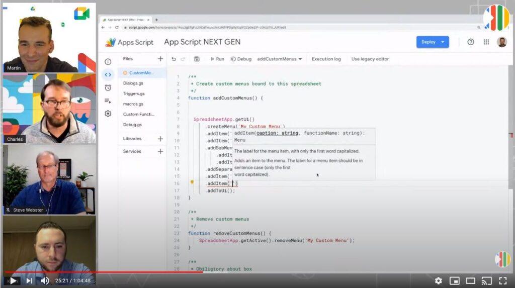 New Apps Script Editor