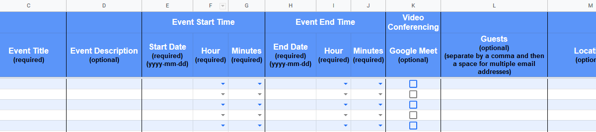 Google Sheet columns allow for event details to be added